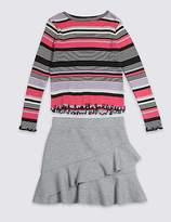 Marks and Spencer 2 Piece Striped T-Shirt & Skirt Outfit (3-16 Years)