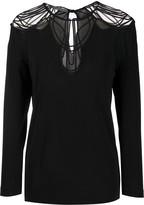 Alberta Ferretti long-sleeved sheer-panels blouse