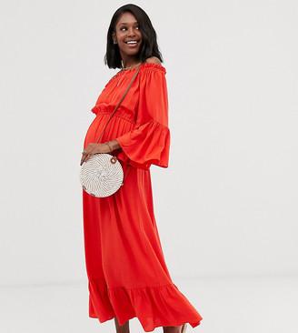ASOS DESIGN Maternity off shoulder maxi dress in crinkle