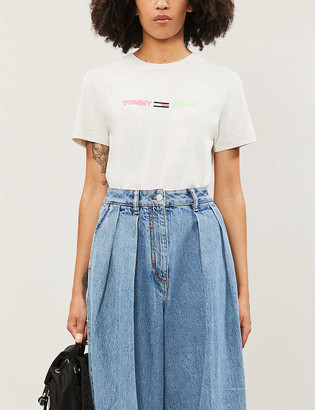 Tommy Jeans Neon logo-embroidered cotton-jersey T-shirt