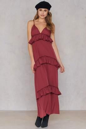 boohoo Ruffle Strap Maxi Dress Red