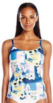 Calvin Klein Women's Geo Floral Over the Shoulder Basic Tankini with Removable Soft Cups