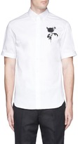 Alexander McQueen Rose embroidered short sleeve shirt