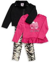 Little Lass Girls 2-6x Glitter Jacket Tee and Animal Print Leggings