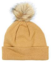 Topman Camel Faux Fur Bobble Beanie Hat
