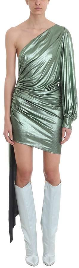 Alexandre Vauthier One Shoulder Green Metallic Lam? Dress