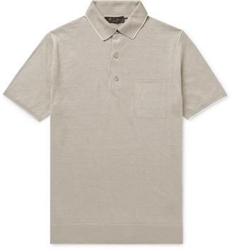 Loro Piana Slim-Fit Contrast-Tipped Linen-Jersey Polo Shirt