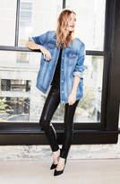 J Brand L8001 Mid-Rise Super-Skinny Leather Legging In Noir