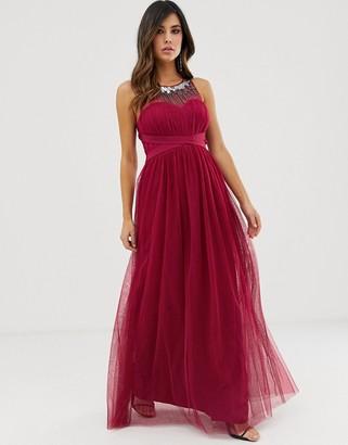 Little Mistress sweetheart neckline embellished yoke maxi dress