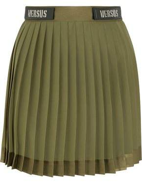 Versace Embellished Satin-trimmed Pleated Chiffon Mini Skirt