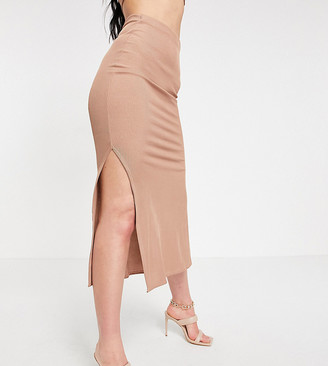Flounce London Tall co-ord ribbed midi skirt with side splits in taupe