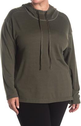 Max Studio Textured Funnel Neck Pullover Hoodie