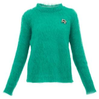 Rochas Crystal Logo-embellished Mohair-blend Sweater - Womens - Green