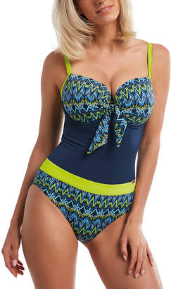 Kris Line Women's One Piece Swimsuits ORIGINAL - Blue & Green San Remo Bow-Accent One-Piece