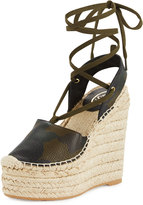 Ash Tracy Leather Espadrille Wedge Sandal, Camo