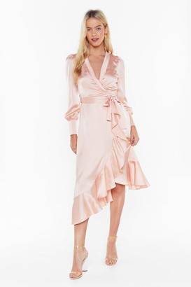 Nasty Gal Womens Dressed to Frill Ruffle Wrap Dress - Pink - L