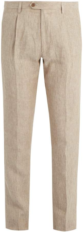 Etro Mid-rise slim-fitting linen trousers