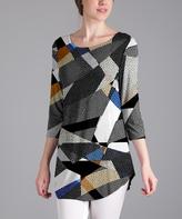 Lily Gray Geometric Three-Quarter Sleeve Tunic - Plus Too