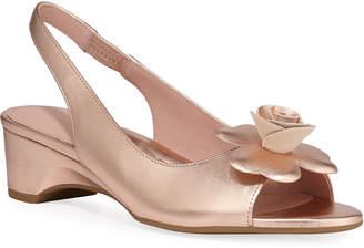 Taryn Rose Neva Metallic Demi-Wedge Flower Sandals
