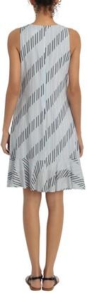 London Times Striped Sleeveless Ruffle Hem Shift Dress