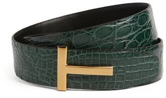 Tom Ford Crocodile Reversible T Clasp Belt