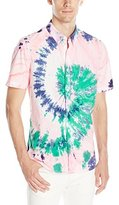 French Connection Men's Tie Dye Highway Short Sleeve Button Down Shirt