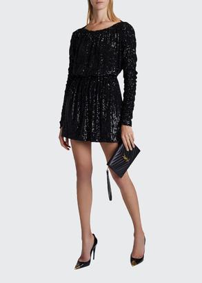 Saint Laurent Sequined Tie-Waist Cocktail Dress