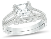 Zales 6.0mm Princess-Cut Lab-Created White Sapphire and 1/4 CT. T.W. Diamond Frame Split Shank Bridal Set in 10K White Gold