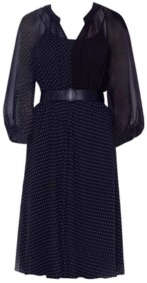 Akris Punto Two-Tone Polka Dot Belted Silk Dress