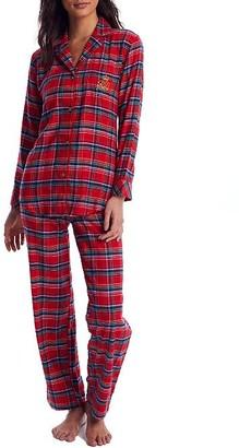 Lauren Ralph Lauren Red Plaid Brushed Twill Pajama Set