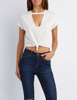 Charlotte Russe Choker Neck Knotted Tee