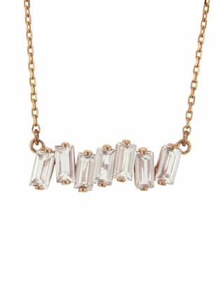 Suzanne Kalan Mini Bar White Topaz Necklace - Rose Gold