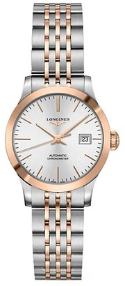Longines Record 30MM Stainless Steel & 18K Pink Gold Automatic Bracelet Watch