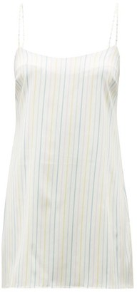 Fleur of England Happiness Striped Silk Blend Satin Nightdress - Womens - Multi Stripe