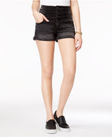 Tinseltown Juniors' Three-Button High-Waist Denim Shorts
