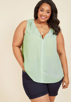 ModCloth Podcast Co-Host Sleeveless Top in Mint in XL
