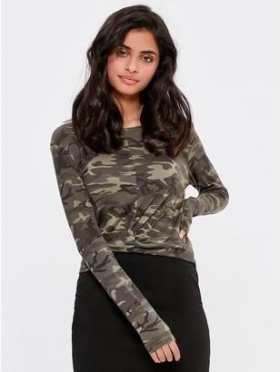 M&Co Teen camo print twist front top