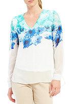Calvin Klein Floral Border Print Chiffon V-Neck Hi-Low Tunic
