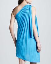 Halston One-Shoulder Pleated Dress