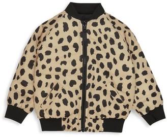 Huxbaby Little Kid's Wilderness Leopard-Print Reversible Bomber Jacket