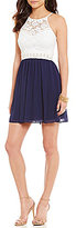I.N. San Francisco High Neck Illusion-Yoke Lace-Bodice Color Block Fit-and-Flare Dress