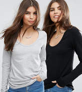 Asos T-Shirt With Long Sleeve and Scoop Neck 2 Pack
