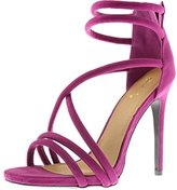 Qupid Womens Diamond Faux Suede Strappy Dress Sandals