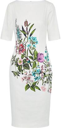 Lela Rose Claire Floral-print Stretch-cotton Dress