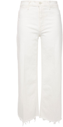 Mother Cropped Frayed High-rise Wide-leg Jeans
