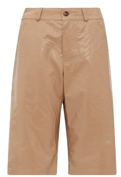 Dodo Bar Or Deniz Crocodile-effect Leather Shorts - Womens - Beige