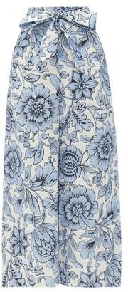 Erdem Everett Modotti Wallpaper-print Linen Trousers - Womens - Blue White