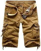 WSLCN Mens Summer Shorts Combat Cargo Shorts Cotton (Without Belt) 38