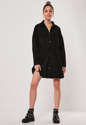 Missguided Black Cord Tie Belt Shirt Dress