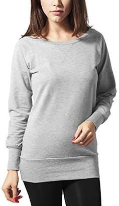 Urban Classic Women's Ladies Wideneck Crewneck Sweatshirt, (Grey), 10 (Size: S)